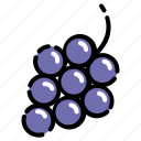 fruit, grape, vegetable, vitamin, wine icon