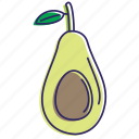 avocado, avocadoes, fruit, fruits, healthy food, organic icon