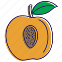 fresh, fruits, healthy food, organic, peaches icon
