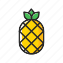 fresh, fruits, pineapple, vegetables, yellow icon