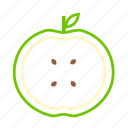 apple, coloredbeans, drink, eco, food, fruit, green, leaf, nature, pit, restaurant, stick, yellow icon