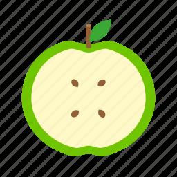 apple, food, fruit, kitchen, leaf, nature, pit, plant, stick icon