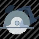circular, electric, equipment, flat, saw, steel, tool icon