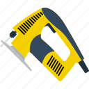 appliance, carpentry, construction, electric, equipment, flat, jigsaw icon