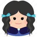 char, curly hair, cute, female, girl, ribbon, woman icon