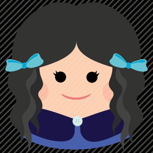 char, curly hair, cute, female, girl, ribbon, woman icon