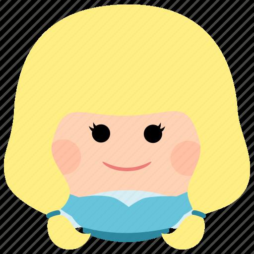 blonde, char, cute, female, girl, long hair, woman icon