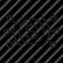 distribution, division, dollar, money, spread icon