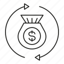 conversion, dollar, fund, money, purse icon