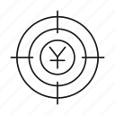 crosshair, currency, goal, target, yuan