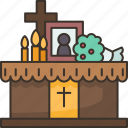 altar, funeral, ceremony, memorial, farewell