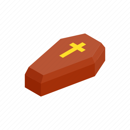 coffin, cross, dead, fear, funeral, grave, isometric icon