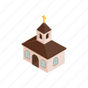 building, christian, church, cross, funeral, isometric, religion icon