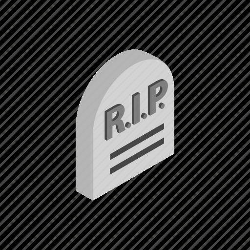 death, grave, gravestone, graveyard, headstone, isometric, stone icon