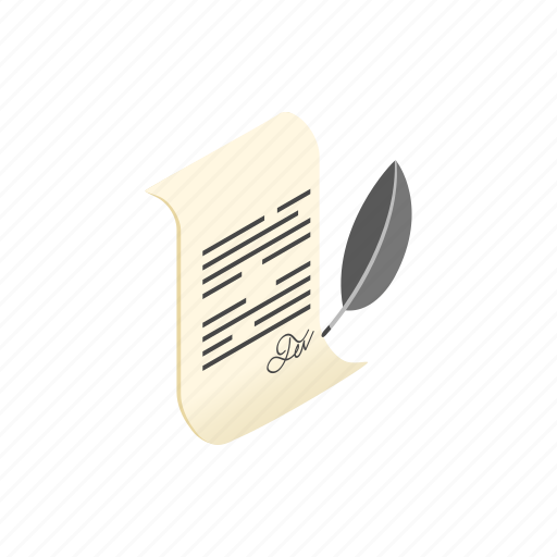 document, isometric, letter, old, pen, will, writing icon