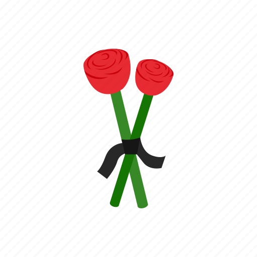 flower, isometric, memorial, memory, red, ribbon, two icon