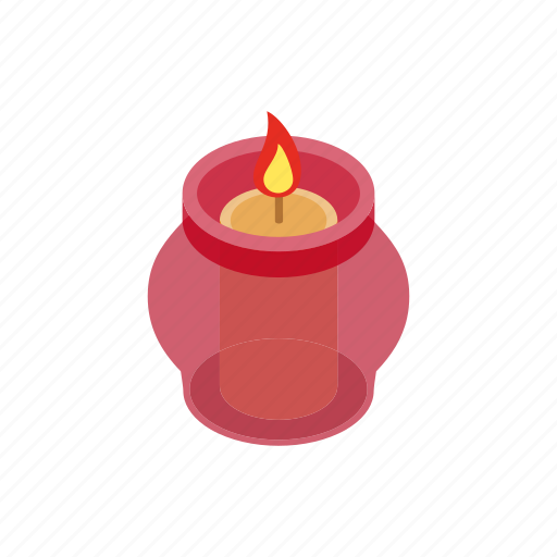candle, candlelight, candlestick, fire, flame, isometric, wax icon