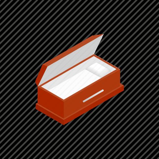 coffin, cross, dead, fear, grave, isometric, open icon