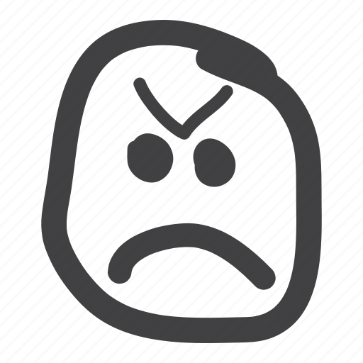 angry, annoyed, determined, emoticon, furrow, upset icon