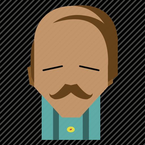 bald man, bored, face, funny, funny man, man, person icon