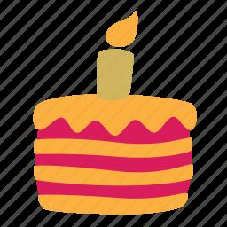 baking, birthday, cake, candle, food, pie, sweet icon