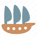 boat, frigate, sailfish, sailing, ship, transport icon