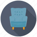 armless sofa, couch, furniture, settee, single seat sofa icon