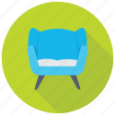 couch, furniture, settee, single sofa seat, sofa icon