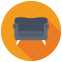 couch, furniture, settee, single seat sofa, sofa icon