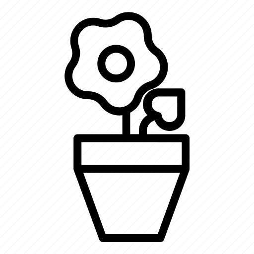 earthen, flowerpot, gardening, pot, seeding icon