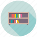 book rack, books almirah, bookshelf, library, study room icon
