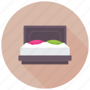 bed, bedroom, double bed, furniture, queen bed icon