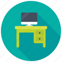 computer table, office desk, study table, table drawers, work desk icon
