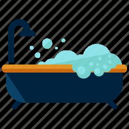 bath, bathroom, bathtub, restroom, shower, water icon