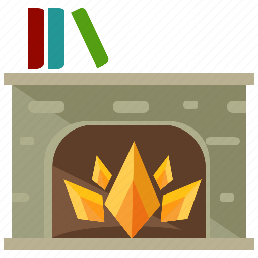 comfort, fire, fireplace, flame, furnishings, furniture, livingroom icon