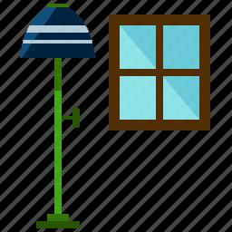 furnishings, furniture, interior, lamp, window icon