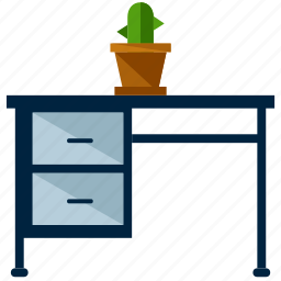 cactus, desk, furniture, office, table, work icon