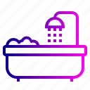 bathroom, bathtub, shower, towel, tub, wash icon