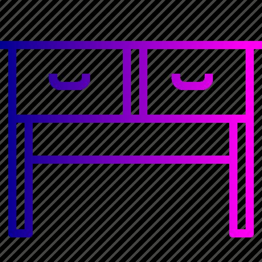 drawer, furnishing, furniture, household, imitation, study, table icon