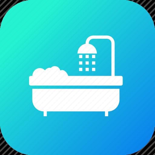 bathroom, bathtub, shower, towel, tub, wash icon