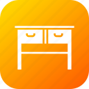 books, drawer, furnishing, household, imitation, study, table icon