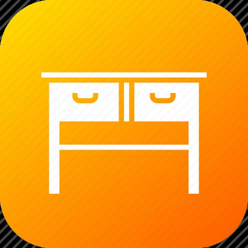 books, drawer, furnishing, household, imitation, study, table icon