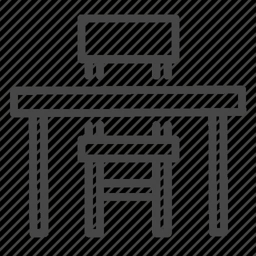 chair, classroom, desk, furniture, interior, table icon