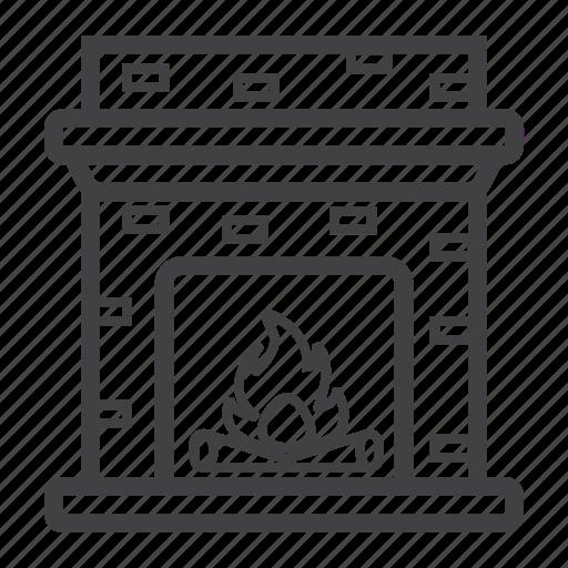 decor, fire, fireplace, furniture, heat, interior, winter icon