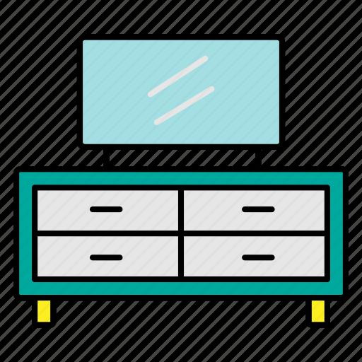 furniture, interior, room, table, television icon