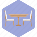 chairs, furniture, hotel, party, resort, table icon