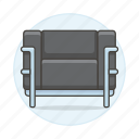 1, black, chairs, furniture, metallic, objects, seat, sofa, sofas icon