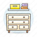 basket, cabinet, chest, clothes, drawer, furniture, laundry, objects, shelf, wall icon