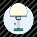 desk, furniture, lamp, lights, modern, objects, sphere icon