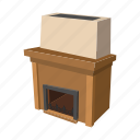 cartoon, decoration, fire, fireplace, home, interior, room icon